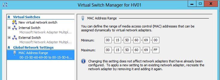 Hyper-V / VMM MAC Addresses
