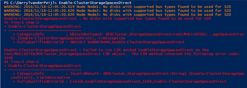 No disks with supported bus types found to be used for S2D